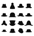 Collection of retro hats silhouette Top hat vector image vector image