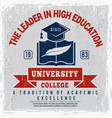 college poster university identity placard school vector image vector image
