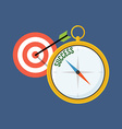 Compass points to success Flat design Isolated on vector image