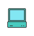computer pc console flat color line icon vector image vector image
