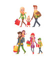 couple children bags full of presents christmas vector image vector image