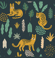 cute seamless pattern with leopards exotic leaves vector image