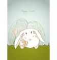 Easter bunny retro vector image vector image