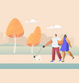 family couple young people characters walking vector image vector image
