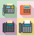 fax machine telephone icons set flat style vector image vector image