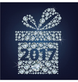 Gift present with 2017 made up a lot of diamonds vector image vector image