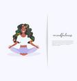girl with flower hair in gyan mudra yoga lotus vector image