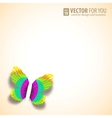 Greeting card with paper butterfly vector image vector image