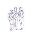 group of business people silhouette sketch discuss vector image vector image
