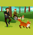 hunters with his dogs hunting a fox vector image vector image