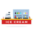 ice cream counter with food and tools flat vector image vector image