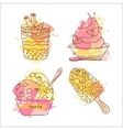 icecream doodle Set of 4 hand vector image vector image