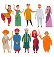 indian people traditional clothes cartoon vector image