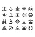 marine black glyph icons nautical set vector image vector image