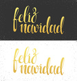Merry Christmas card with greetings in spanish vector image