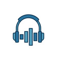 on-ear headphones with equalizer icon or vector image vector image