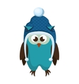 owl with christmas hat vector image vector image