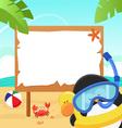 penguin snorkel message vector image vector image