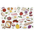 set different food for morning breakfast vector image