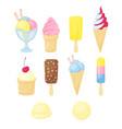 set different ice cream cartoon style vector image vector image