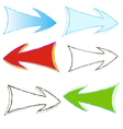 set of colored arrows painted by hand vector image vector image