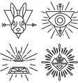 set of linear emblems and badges vector image vector image