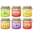 Six different jams vector image vector image