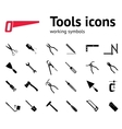 Tools icons set Glue pliers tongs wrench key vector image