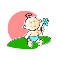 Happy adorable infant playing with a flower vector image