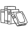 black and white books vector image