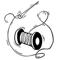 black and white reel with thread and needle vector image vector image