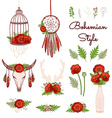 Bohemian style collection with poppies vector image vector image