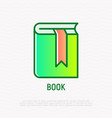 book with bookmark thin line icon modern vector image