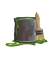 Bucket of green paint and molar brush