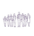 businesspeople group hand drawn moving forward vector image vector image