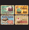 cafe desserts pastry shop cake rusty metal plate vector image vector image