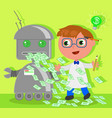 cartoon inventor with dollar robot vector image