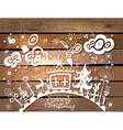 Christmas Card with wood vector image vector image