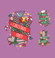 christmas hand drawn tape badges style holiday vector image vector image