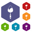 construction trowel icons set vector image vector image