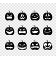 different pumpkins silhouettes collection vector image vector image