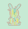 easter hare with a creative lettering inside vector image vector image
