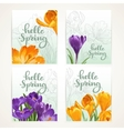 Four vertical banners Hello spring with yellow and vector image vector image