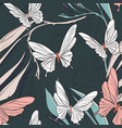 geometric repetiotion butterfly pattern on dark vector image vector image