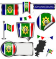glossy icons with flag of johannesburg south vector image vector image
