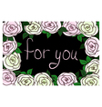 Greeting card with frame of roses vector image