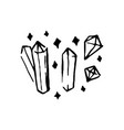 hand drawn witch and magic crystal item vector image vector image