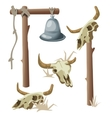 Hanging bell and three bull skulls vector image vector image