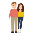 happy couple hugs cartoon man and woman isolated vector image vector image