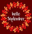 hello september floral wreath autumn card vector image vector image